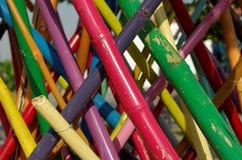 Färgrik bambuinstallation Fotografering för Bildbyråer