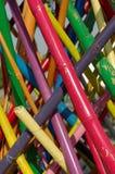 Färgrik bambuinstallation Royaltyfria Foton