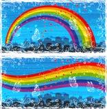 färgrik banercityscape royaltyfri illustrationer