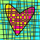 Färgrik belagd med tegel patchwork för hjärta Kulör täppa royaltyfri bild
