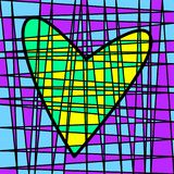 Färgrik belagd med tegel patchwork för hjärta Kulört väva för täppa royaltyfri fotografi