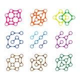Färgrik beståndsdel för designmolekyllogo. Royaltyfri Foto