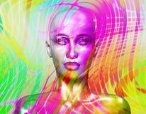 Färgrik bild för popkonst av en framsida för kvinna` s abstrakt böcker planlägger sidafotoet till arkivbild