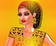 Färgrik bild för popkonst av framsidan för kvinna` s med modeskönhetsmedel, guld- bakgrund fotografering för bildbyråer