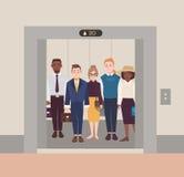 Färgrik bild som illustrerar grupp människoranseende i öppen hiss Män och kvinnor som bär affärsdräkten i klassiskt vektor illustrationer