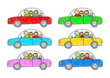 färgrik bilsamling stock illustrationer