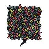 Färgrik blandad alfabetanförandebubbla Royaltyfri Foto