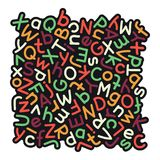 Färgrik blandad alfabetbakgrund Arkivbilder