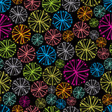 Färgrik blom- bakgrund med maskrosor, dekorativ snöflinga Royaltyfri Fotografi