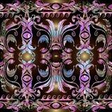 Färgrik blom- barock sömlös gränsmodell Dekorativ antik bakgrund för vektor Barockt viktorianskt för tappningabstrakt begreppeleg vektor illustrationer