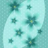 Färgrik blom- blå bakgrund med prickar vektor illustrationer