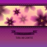 Färgrik blom- modell på geometrisk bakgrund vektor illustrationer