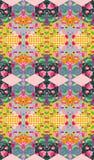 Färgrik blom- patchwork Sömlös vaddera design Arkivfoto
