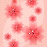 Färgrik blom- rosa bakgrund med prickar vektor illustrationer