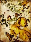 färgrik blom- tappning för konstbakgrund Arkivbilder