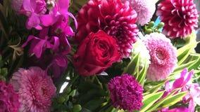 Färgrik blommaarrengement stock video