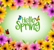 Färgrik blommabakgrundsram för vårsäsong stock illustrationer