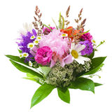 Färgrik blommabukett som isoleras på white royaltyfria bilder
