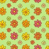 Färgrik blommamodell på grön bakgrund Royaltyfri Bild