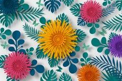Färgrik blommapappersstil, blom- pappers- hantverk, fjärilspappersfluga, tolkning 3d, med den snabba banan royaltyfri illustrationer