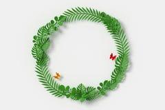 Färgrik blommapappersstil, blom- pappers- hantverk, fjärilspappersfluga, tolkning 3d, med den snabba banan Gräsplansidor är cirke stock illustrationer