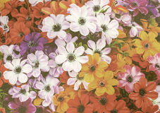 Färgrik blommatappningstil Arkivbild