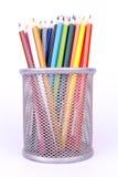 Färgrik blyertspennafärg på vit bakgrund Fotografering för Bildbyråer