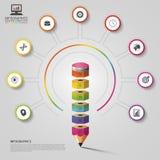 Färgrik blyertspennainfographics modern mall för design också vektor för coreldrawillustration Royaltyfri Fotografi