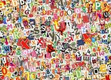 Färgrik bokstavscollage fotografering för bildbyråer