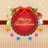 Färgrik boll för julkort och stjärnagarnering stock illustrationer