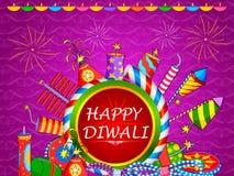 Färgrik brandsmällare för lycklig Diwali ferie av Indien vektor illustrationer