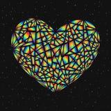 Färgrik bruten hjärta för abstrakt designbeståndsdel som isoleras på mörker B