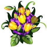 Färgrik bukett av gula tulpan Royaltyfria Bilder