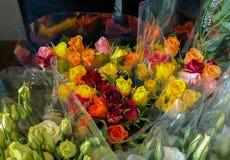 Färgrik bukett av rosor - i rosa färger, apelsin, gult och rött, sur Arkivbilder