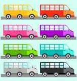 Färgrik busstransport i åtta färger royaltyfri illustrationer
