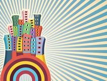 Färgrik byggnadsvektorillustration stock illustrationer