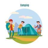 Färgrik campa och vandra mall royaltyfri illustrationer
