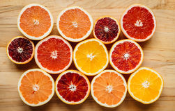 Färgrik citrusfrukt från över Arkivbild