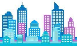 Färgrik cityscapebakgrund, modern arkitektur Fotografering för Bildbyråer