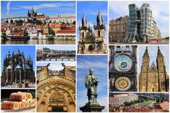 Färgrik collage av mest bekanta gränsmärken av Prague royaltyfria foton
