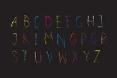 Färgrik Crayon för alfabetstilsort Arkivfoton