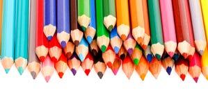 Färgrik crayon på vit bakgrund Arkivbild