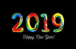 Färgrik 3d text 2019 Lyckönskan på det nya året 2019 Arkivbild
