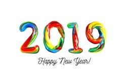 Färgrik 3d text 2019 Lyckönskan på det nya året 2019 Arkivbilder
