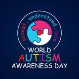 Färgrik dag för medvetenhet för autism för designordvärld med det runda pusslet stock illustrationer