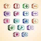 färgrik datorsymbol royaltyfri illustrationer