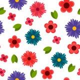Färgrik dekorativ botanisk sömlös modell med blommor Arkivbilder