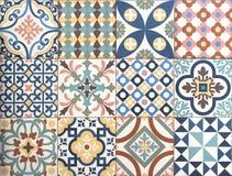 Färgrik dekorativ design för tegelplattamodellpatchwork Royaltyfri Fotografi