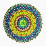 Färgrik dekorativ hand dragen mandalamodell vektor illustrationer