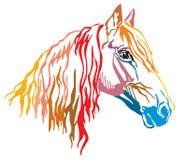 Färgrik dekorativ stående av illusen för vektor för Orlov travarehäst vektor illustrationer